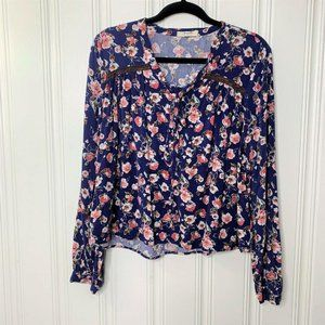 Free Bird Blue Floral Long Sleeves Button Blouse L